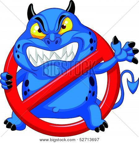 Cartoon Stop virus - blue virus in red alert sign