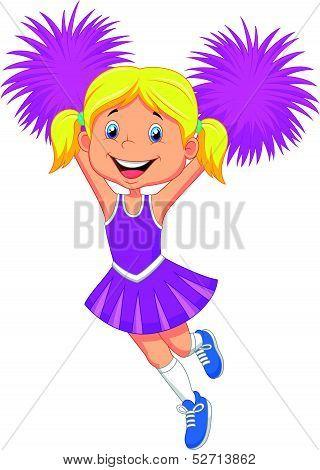 Cartoon Cheerleader with Pom Poms