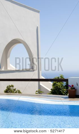 Greek Island Architecture With Pool And Sea View