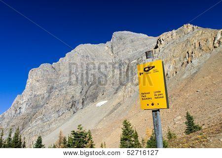 Kootenay National Park Boundary Sign