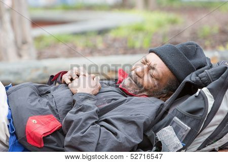 Old African American Homeless Man Sleeping