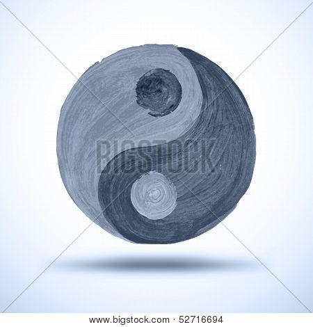 Taichi yin and yang. Watercolor Background. Grunge Illustration