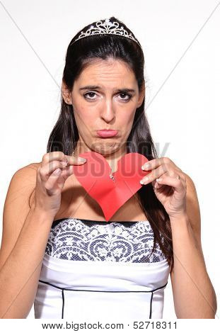 Sad woman broken heart,sad bride portrait.Breaking heart.