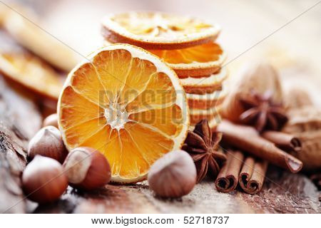 dry oranges with walnut and cinnamon - Christmas time