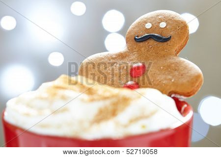 Gingerbread man in hot chocolate
