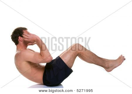 Man Doing A Sip Up Stomach Crunch
