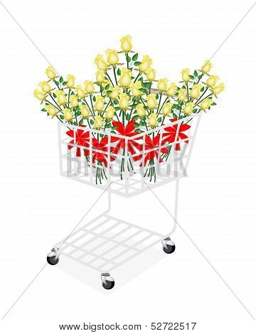 Yellow Rose Bouquets with Ribbon in Shopping Cart