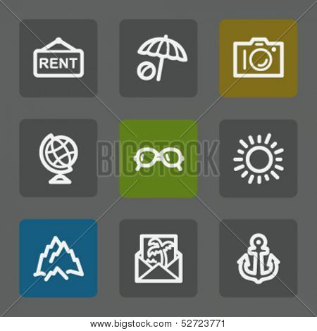 Travel web icons set 5, flat buttons