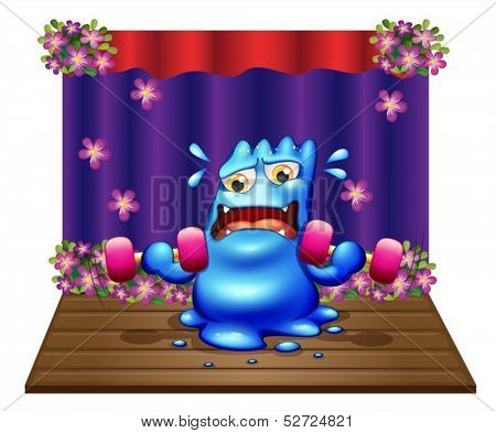 Illustration of a blue monster exercising in the middle of the stage on a white background