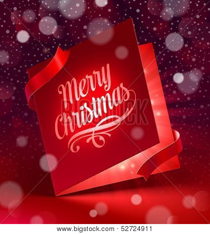 Luminous Christmas greeting card   - vector illustration