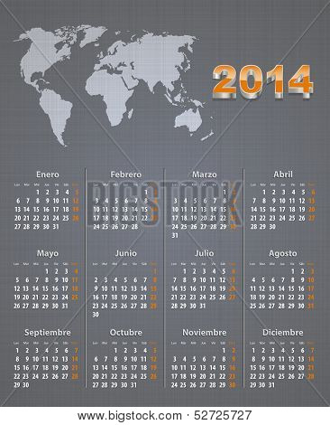 Spanish Calendar For 2014 With World Map On Linen Texture