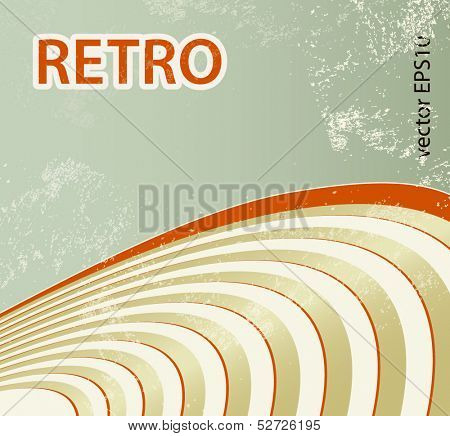 Sound waves - retro background with curved lines - abstract golden record