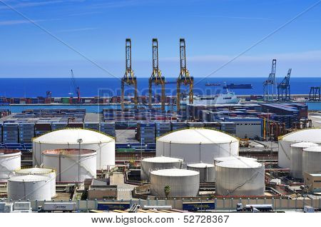BARCELONA, SPAIN - SEPTEMBER 16: View of the facilities of the Port of Barcelona on September 16, 2013 in Barcelona, Spain. The commercial port is one of the most important in the Mediterranean