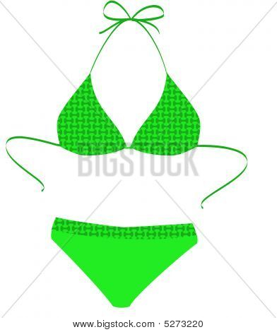 The Isolated Green Bathing Suit On A White Background. Vector Illustration