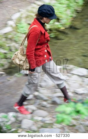 Walking Woman in Red Coat