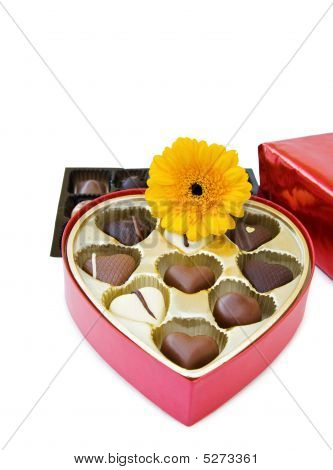 Box Of Luxury Heart Shaped Chocolates With Flower