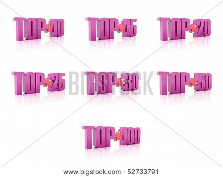 Set Of Tops. Pink On White Background. 3D Illustration.