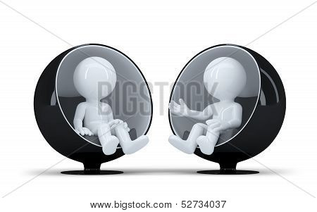 People Sit In A Modern Round Chair Facing Each Other And Talk