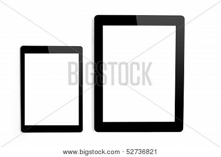 Big tablet And Mini Tablet On Isolated Background