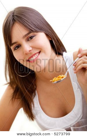 Woman Eating Her Breakfast