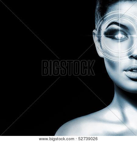 Hi-tech portrait of young and attractive woman with the holographic elements on her eyes (laser medicine and security concept)