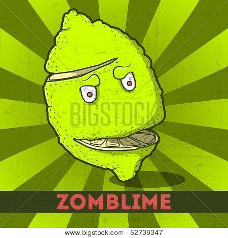 Funny Cartoon Zomblime On The Retro Background