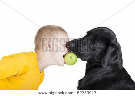 Child With A Dog Bite An Apple