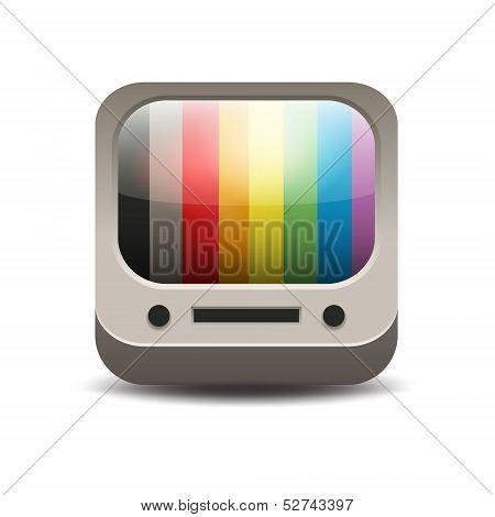 Rainbow colored tv set