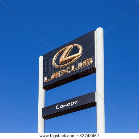 Samara, Russia - October 20: The Emblem Lexus On Blue Sky Background, October 20, 2013 In Samara, Ru