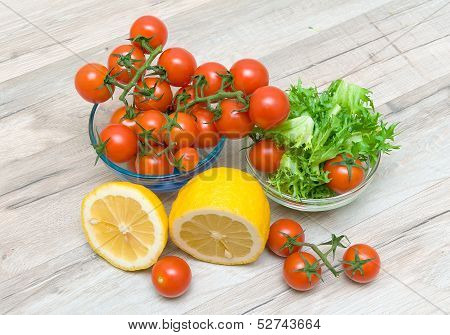 Ripe Cherry Tomatoes, Lemon And Salad Frieze