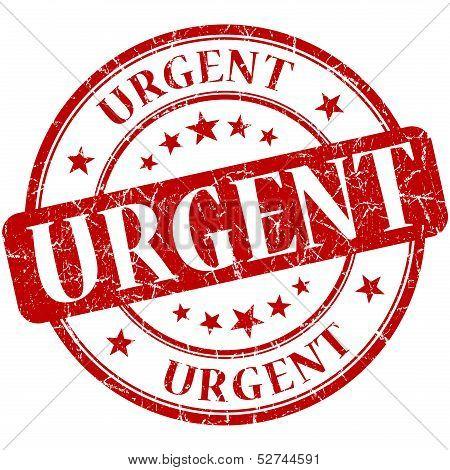 Urgent Grunge Round Red Stamp