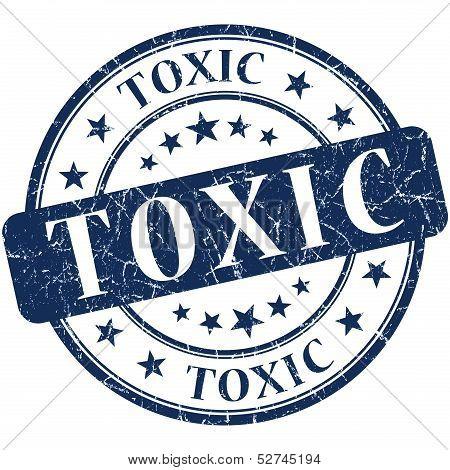 Toxic Grunge Round Blue Stamp