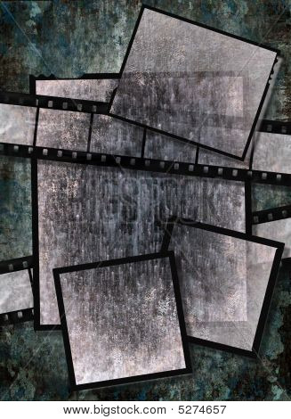 Film Strip And Film Plates With Vintage Grunge Texture On Grunge Background