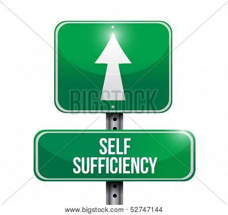 Self Sufficiency Road Sign Illustration Design