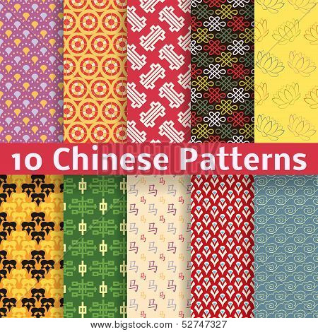 Different Chinese vector seamless patterns (tiling).