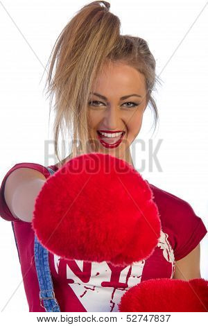 Beautiful Adult Woman With Red Fur Boxing Gloves