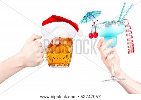 Christmas toast with Beer and cocktail