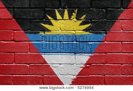 Flag Of Antigua And Barbuda On Brick Wall