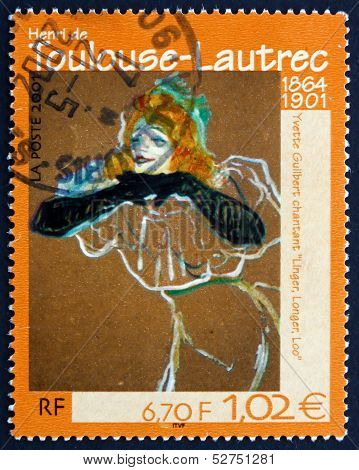 Postage Stamp France 2001 Yvette Guilbert Singing Linger, Longer