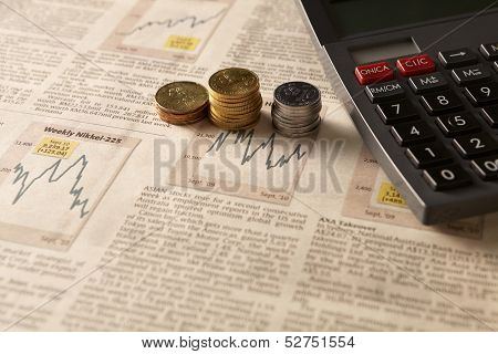 Newspaper Stock Market With Calculator And Money
