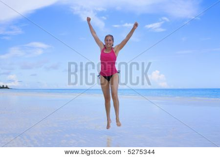 Healthy Woman At The Beach