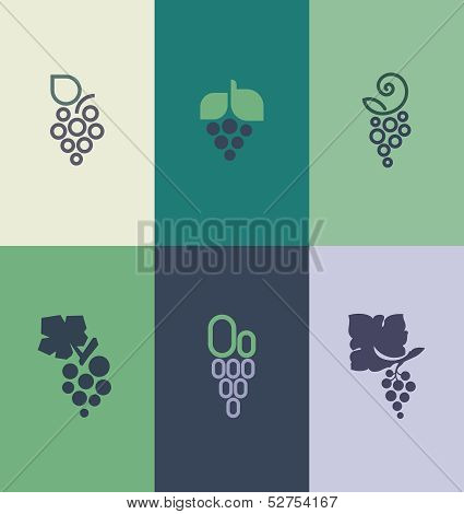 Grape With Leaf. Elements For Design. Vector Illustration
