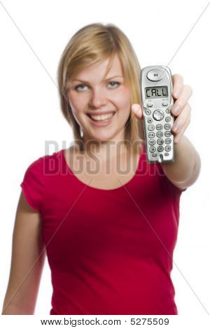 Woman Holds Phone Showing Call In The Display