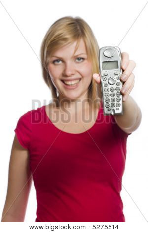 Young Woman Is Showing Phone