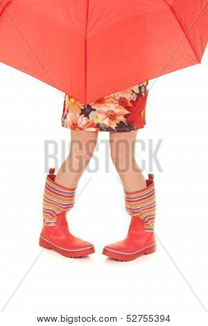 Woman Legs Boots Under Umbrella