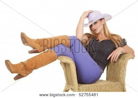 Woman Purple Hat Sit Chair