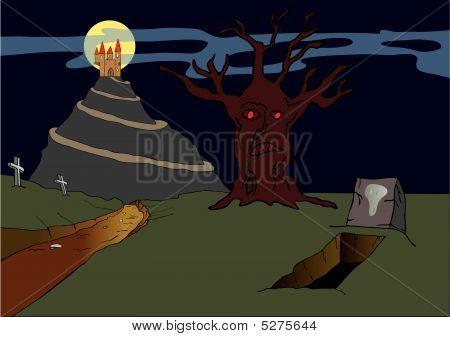 Old Haunted Castle On The Hill - Vector