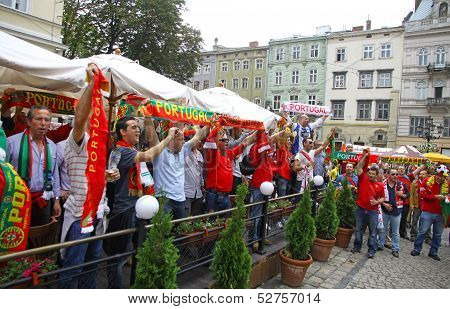 Portugal Football Team Supporters Walk On A Streets Of Lviv