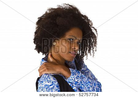 Afro American Woman With Shoulder Pain