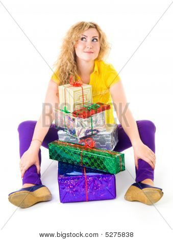 Woman With Pile Of Presents